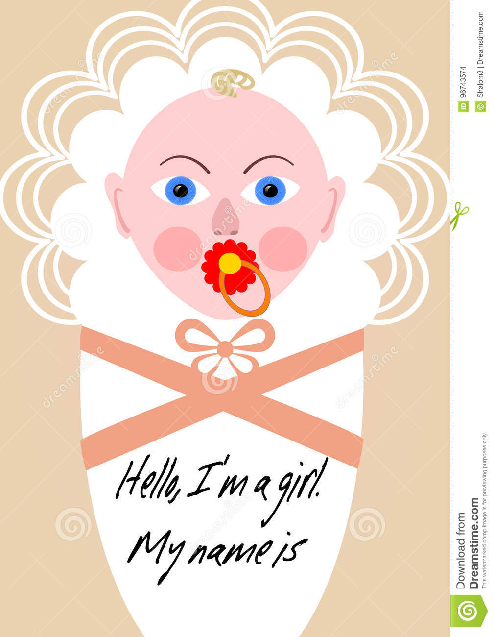 new born girl announcement template baby cartoon in pink design