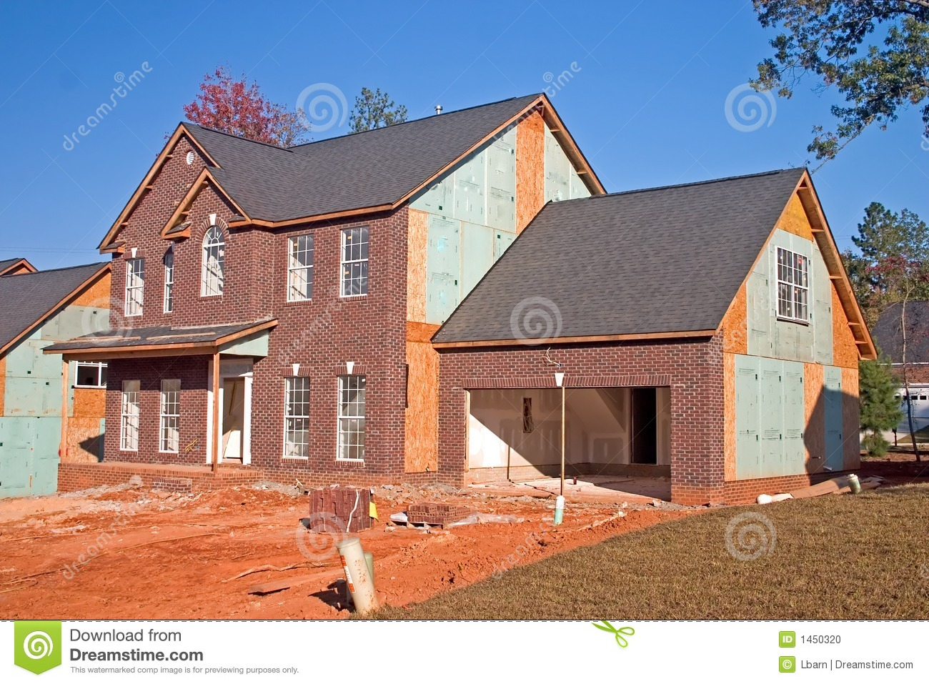 New Brick Front Home Stock Photo Image 1450320