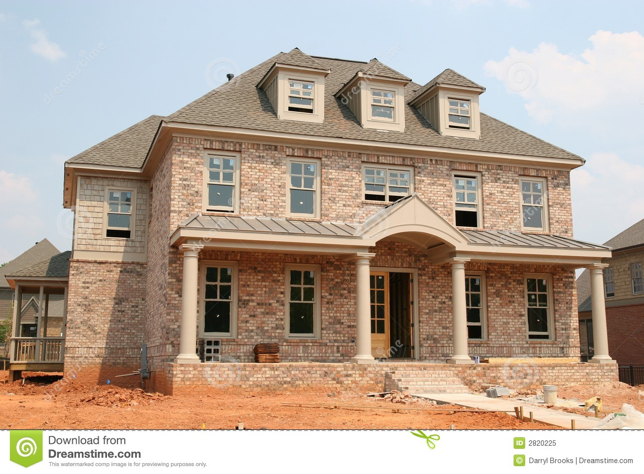 New brick home construction stock image image 2820225 for Building a new home