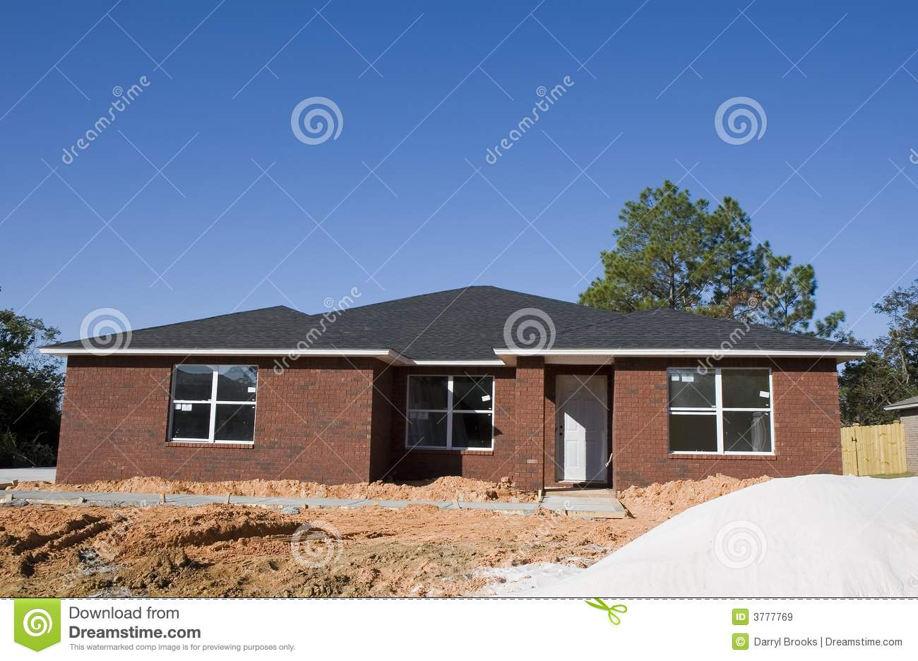New brick house and sand royalty free stock images image for Brick home construction