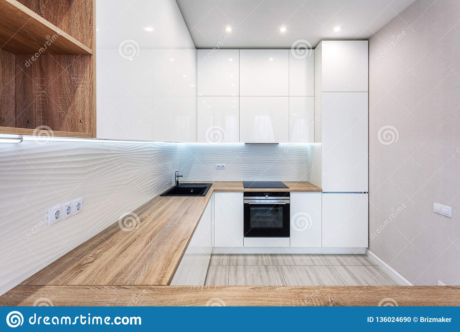 New Bright Modern Kitchen With Built In Oven And Chrome ...