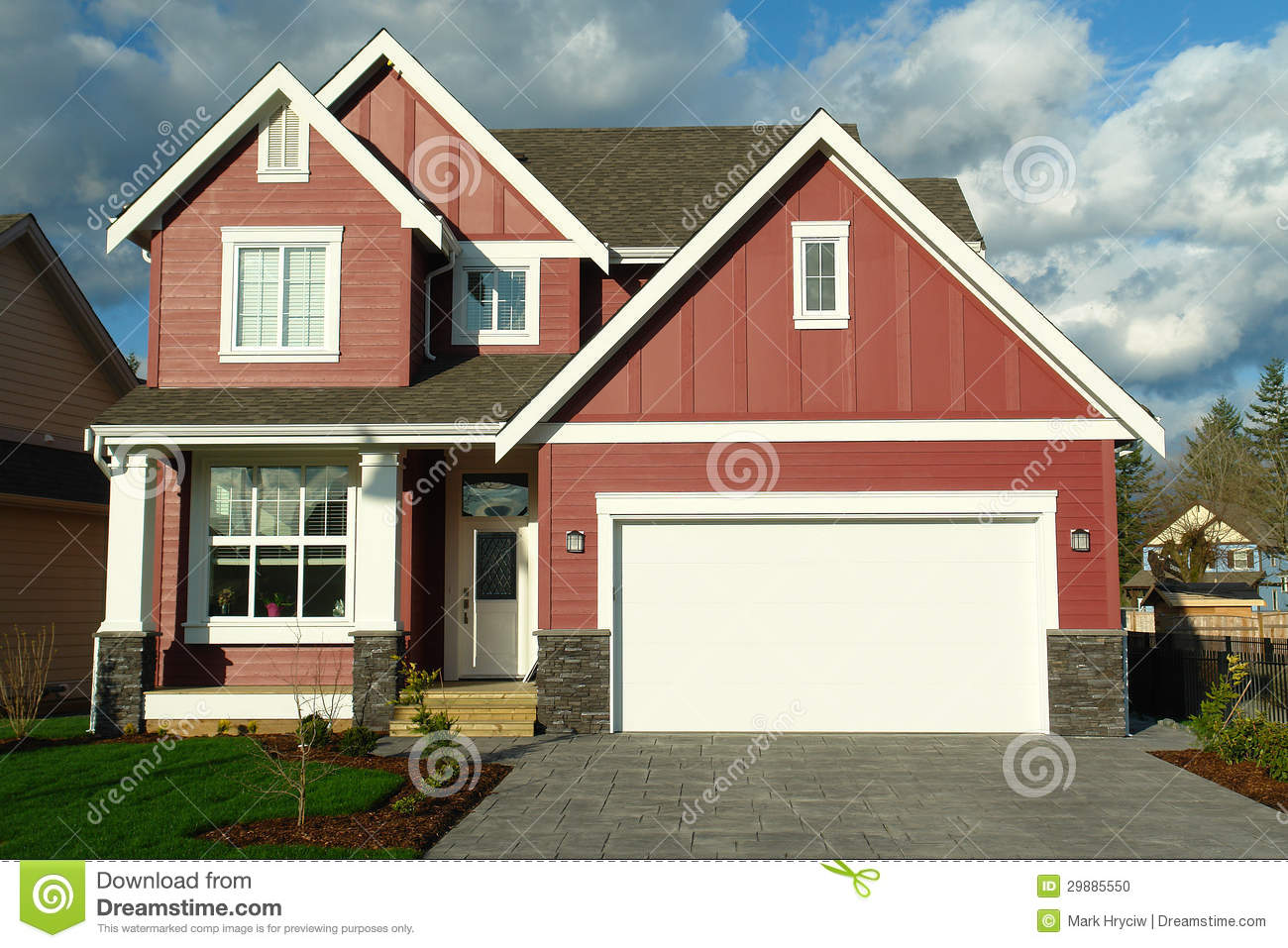 New Red House Home With White Trim Stock Photo Image
