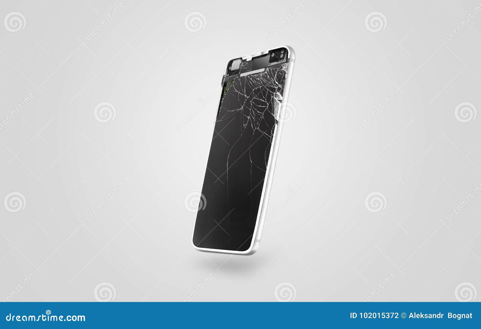 New broken mobile phone display mockup, side view