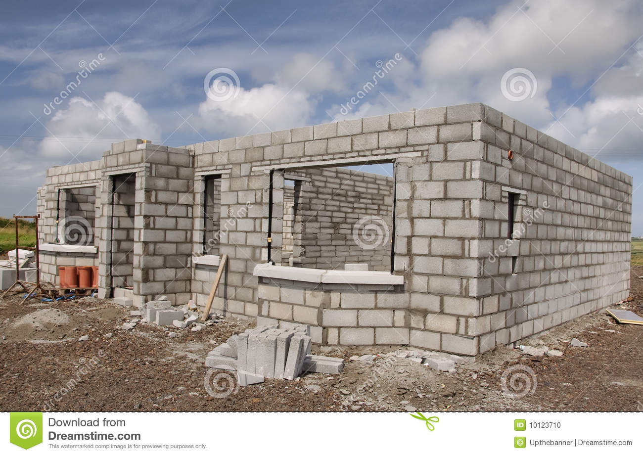 New Build Concrete Stone House Stock Photo Image 10123710