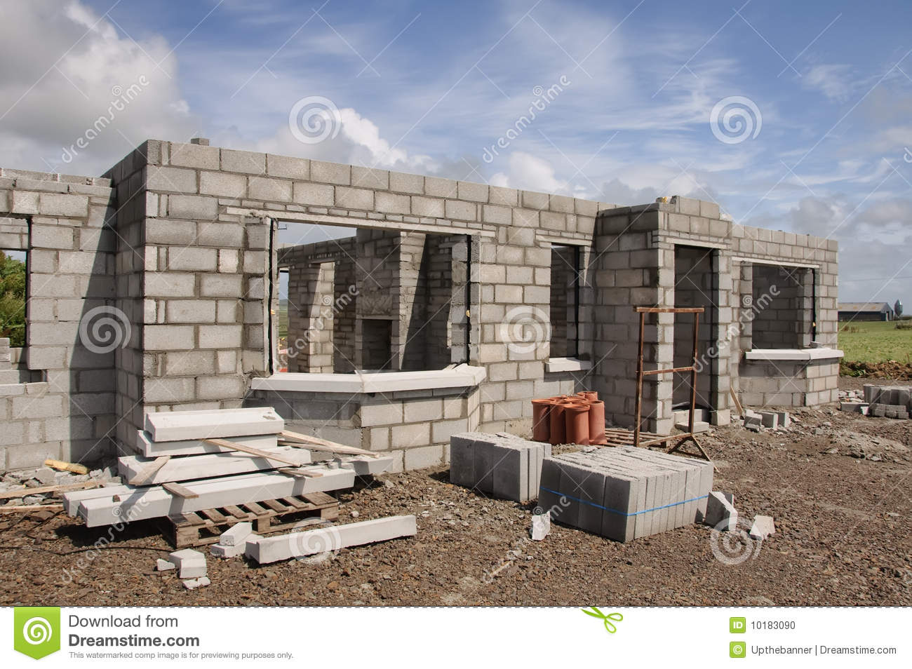 New build concrete stone house stock photo image of for Concrete home contractors