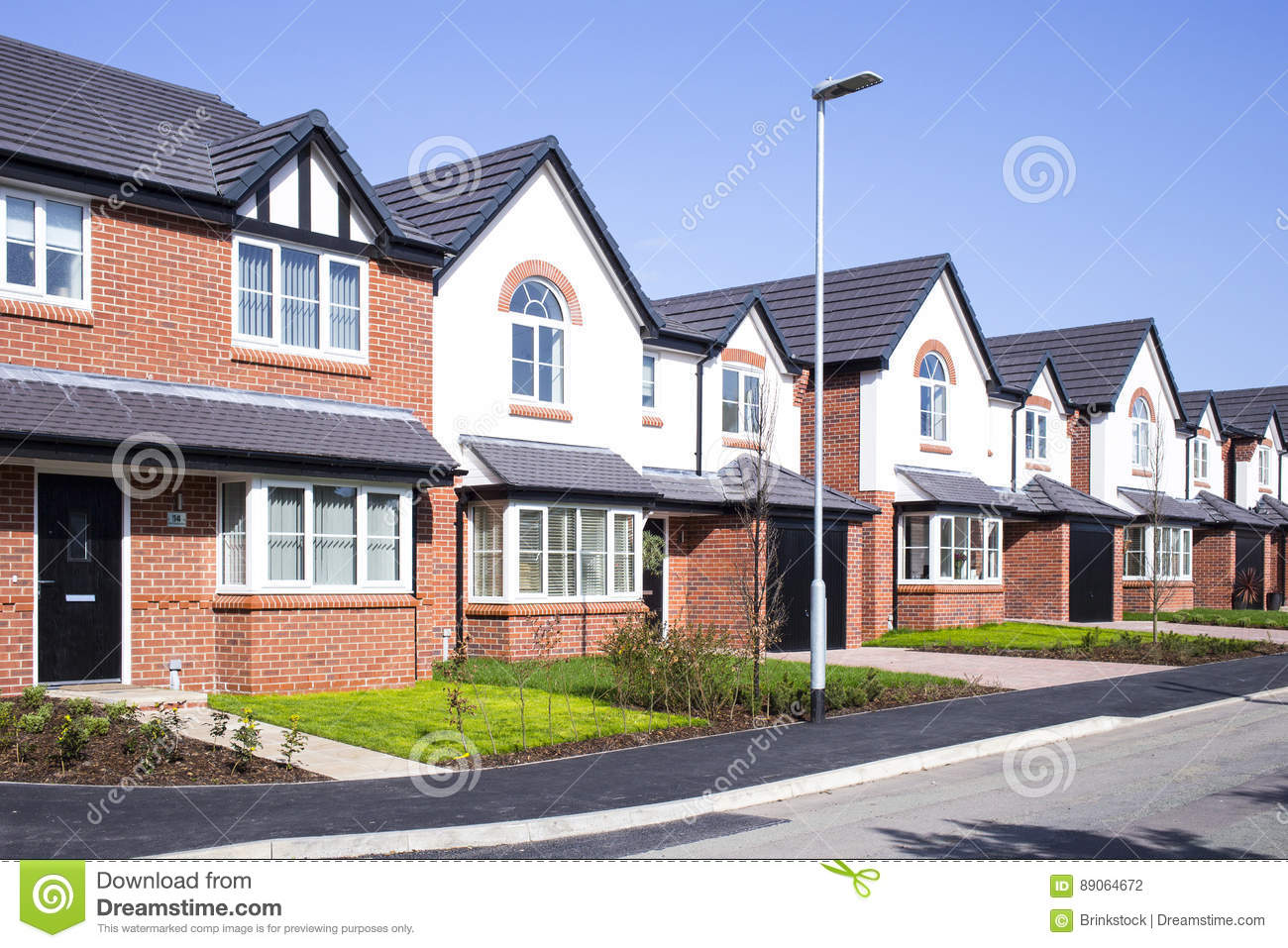 Download New build houses UK stock photo. Image of house, terraced - 89064672