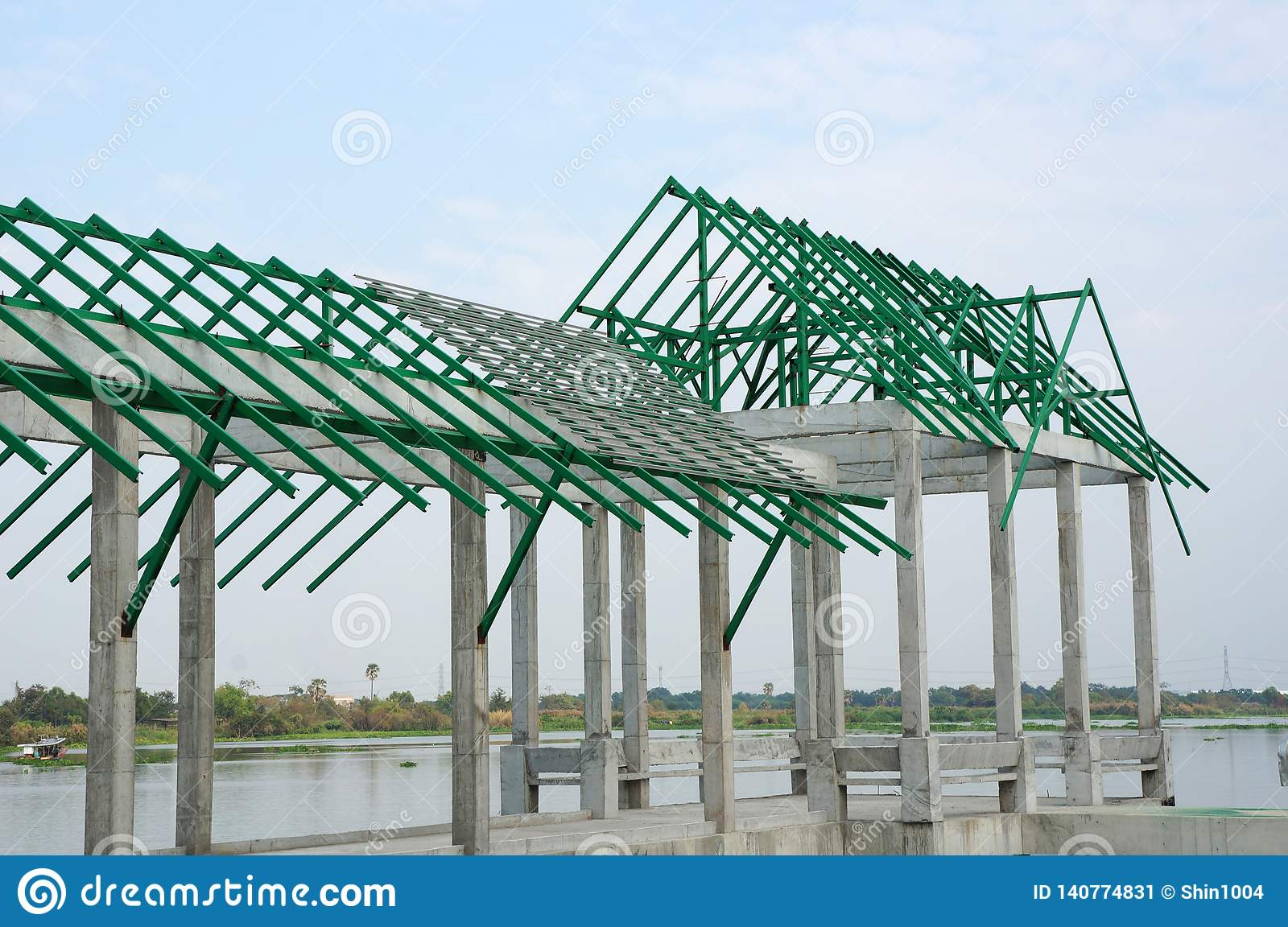A New Build Roof With A Metal Truss Framework Color Green Stock Image Image Of Design Architecture 140774831