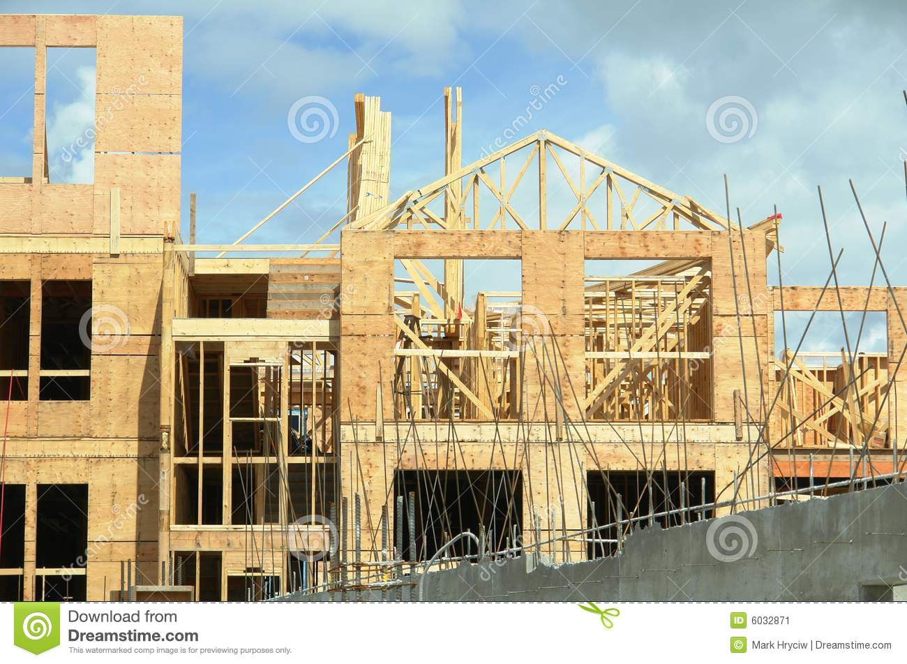 New Building Under Construction Framing Trusses Stock ...