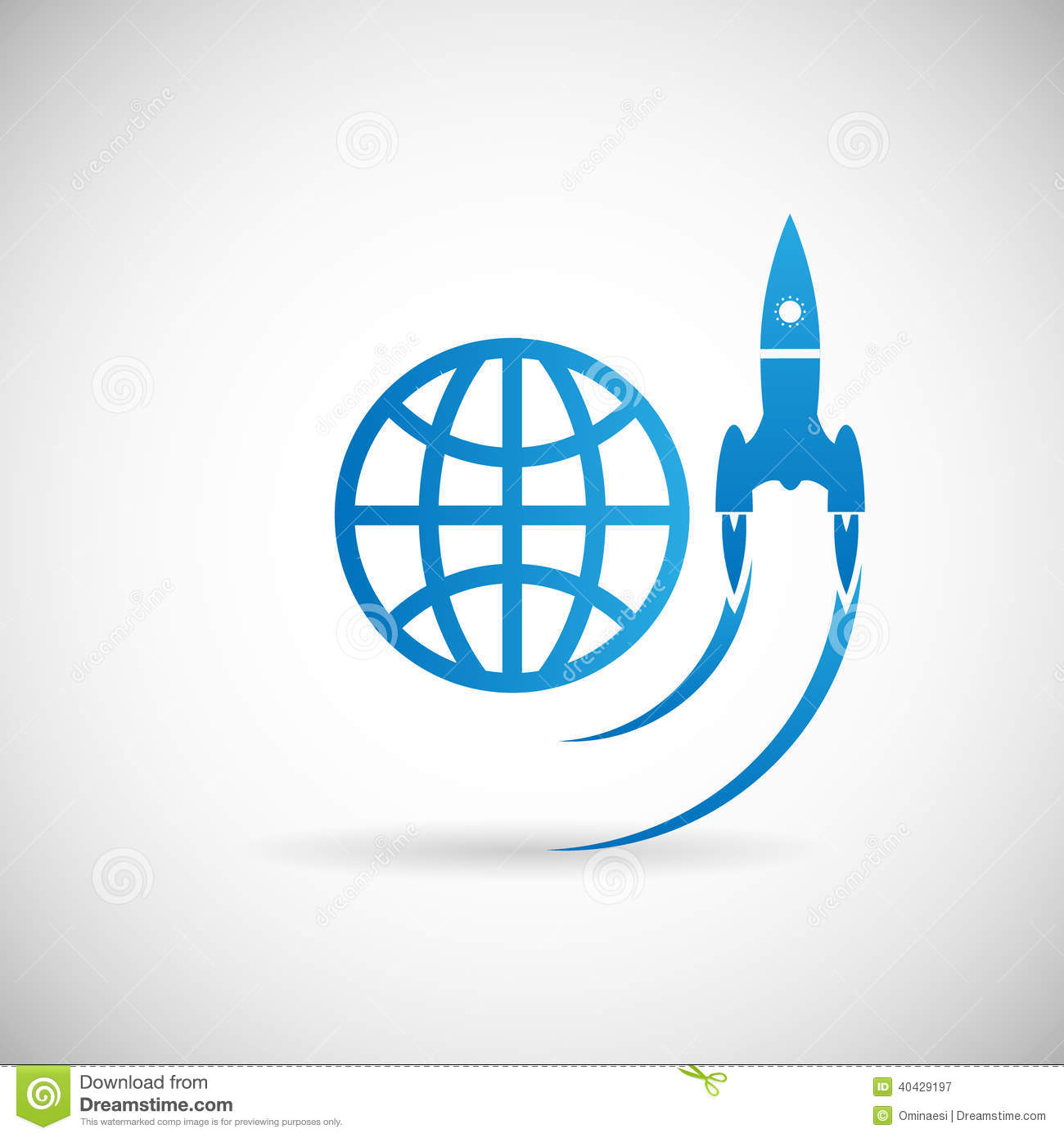 Stock Vector: New Business Project Startup Symbol Rocket Space Ship ...