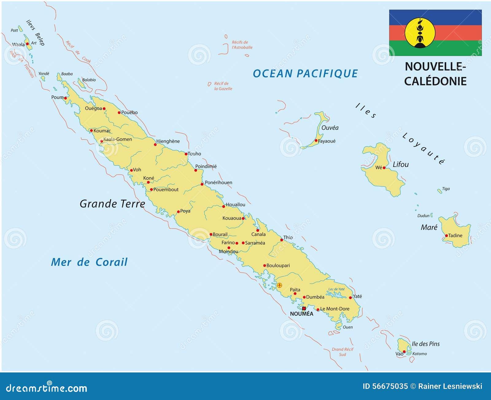 New Caledonia Map With Flag Stock Illustration Image - New caledonia map