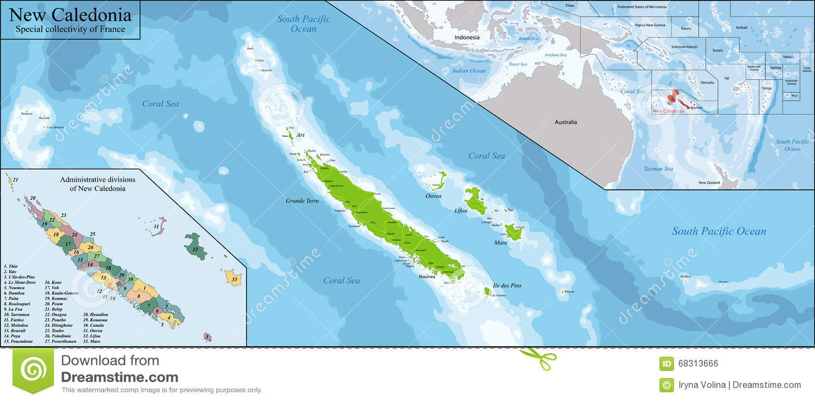 New caledonia map stock vector image of isle detail 68313666 new caledonia map gumiabroncs Images
