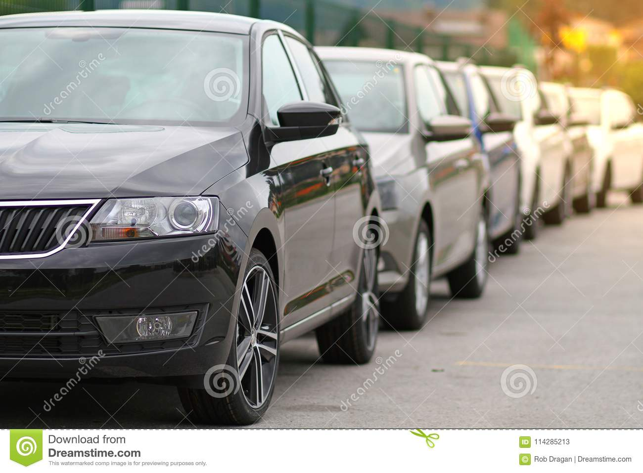 New cars parked in front of a car, motor dealer store, shop in queue