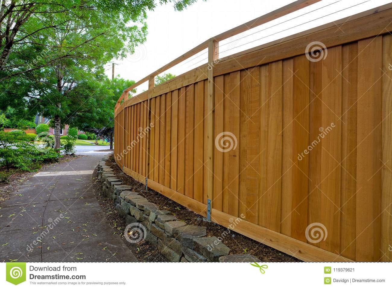 Download New Cedar Wood Fencing Around Backyard Around House Stock Image - Image of house, path: 119379621