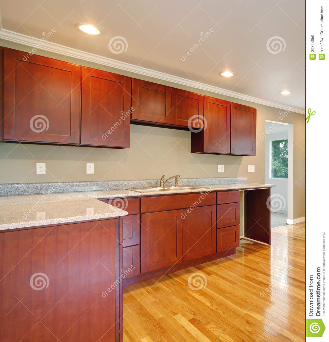 Empty Kitchen Cupboard: New Cherry Wood Cabinet Kitchen. Stock Photo