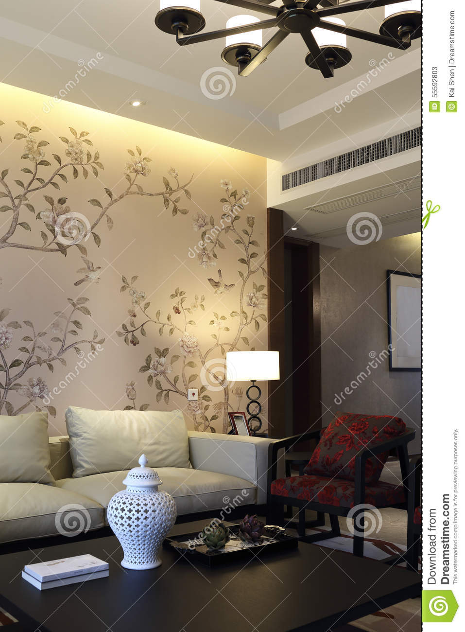 New Chinese Style Apartment Living Room Design Model Stock ...