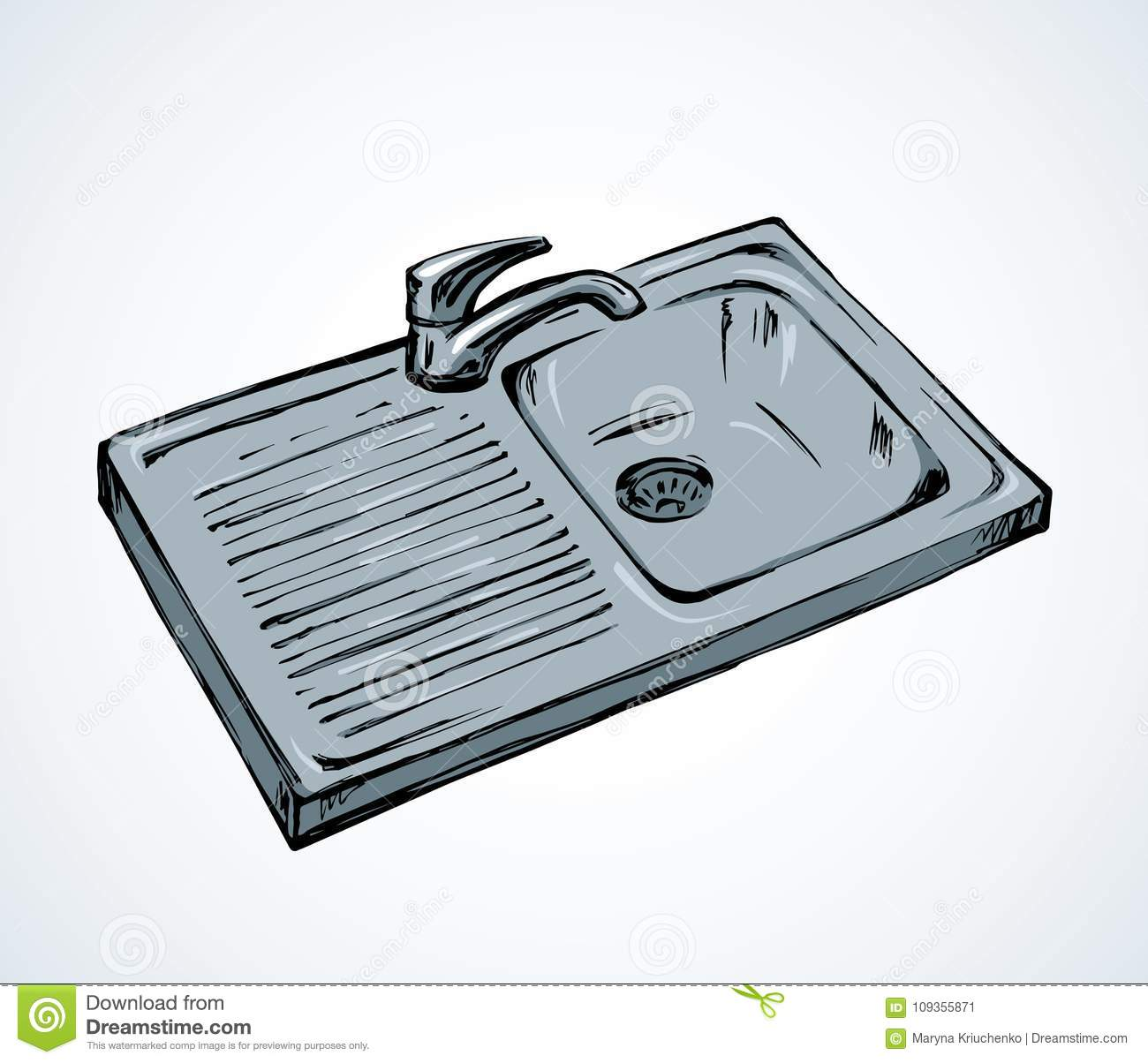 Kitchen Sink Drawing: Kitchen Sink. Vector Drawing Stock Vector