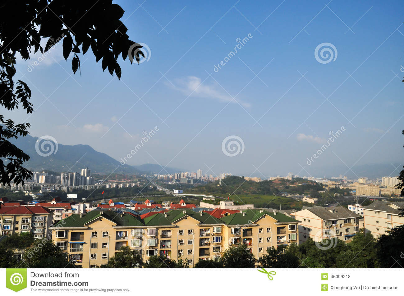 New City In Blue Sky Stock Photo Image 45099218