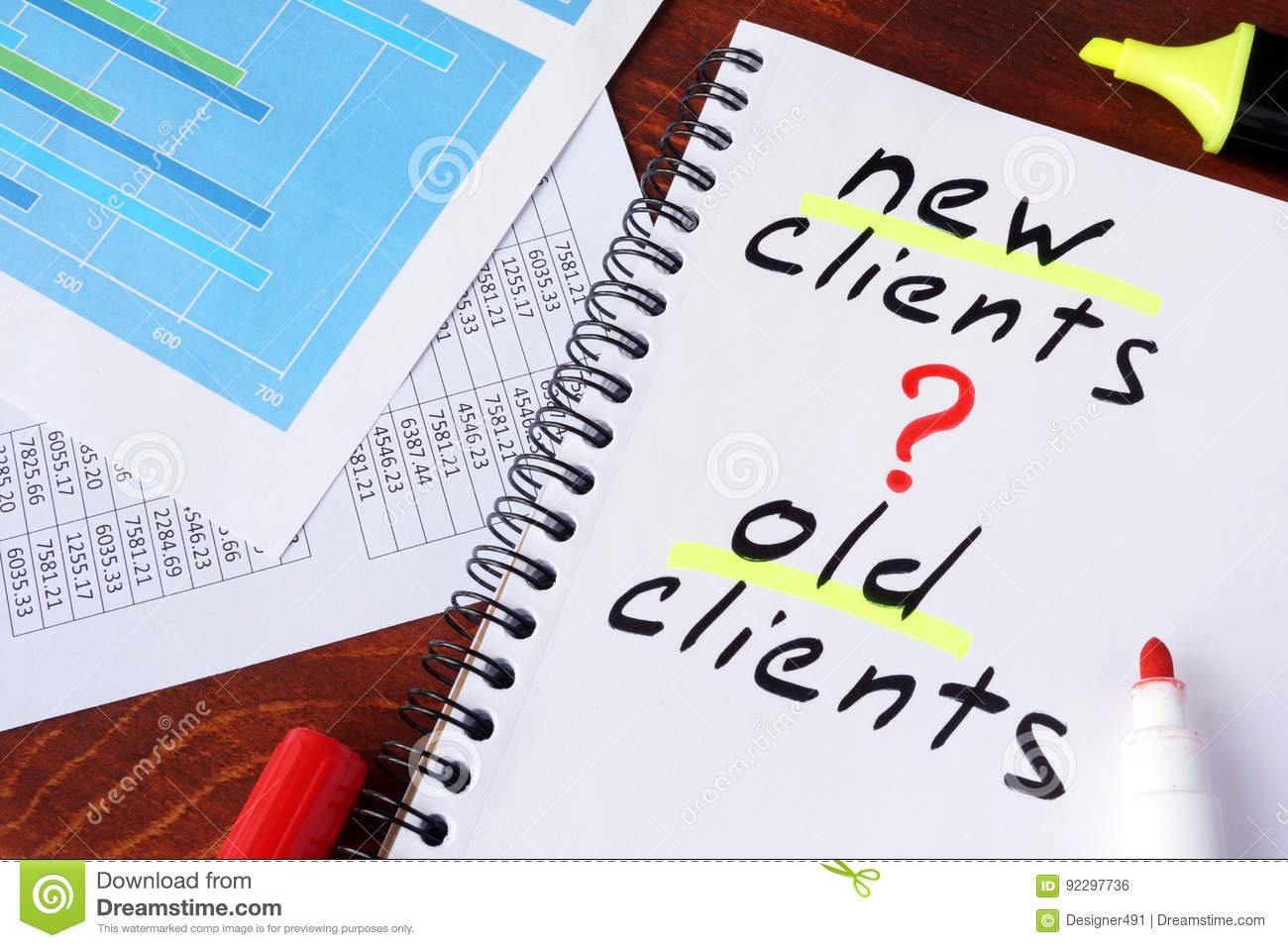 New clients or old clients written in a note.