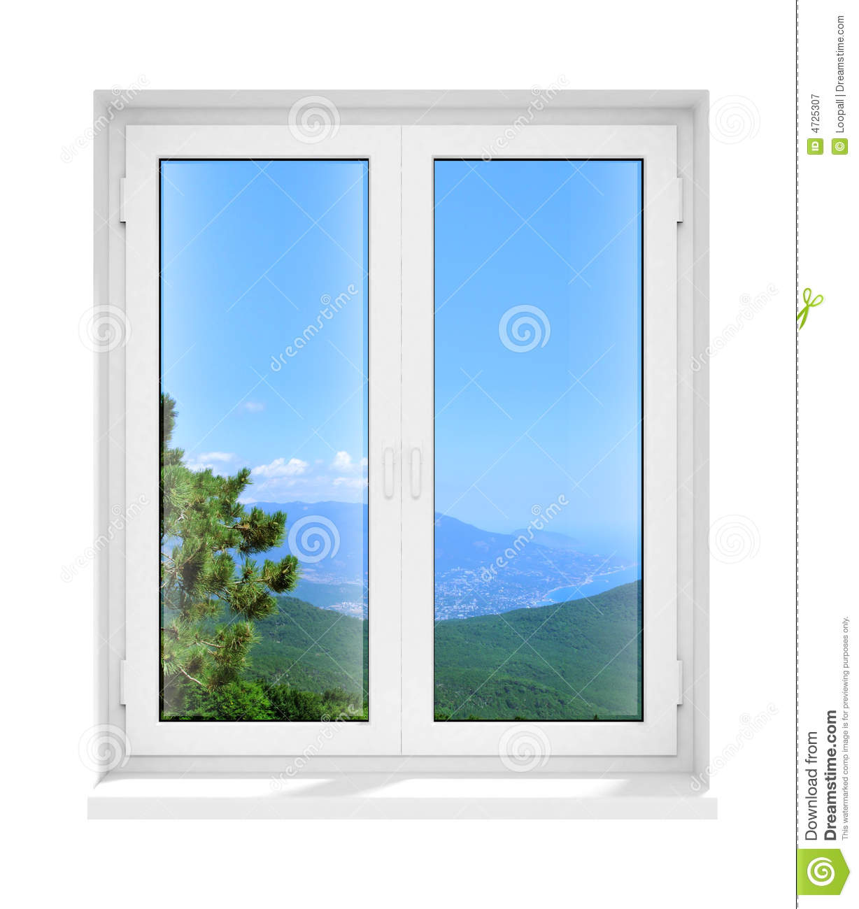 Closed Window Frame : New closed plastic glass window frame isolated stock