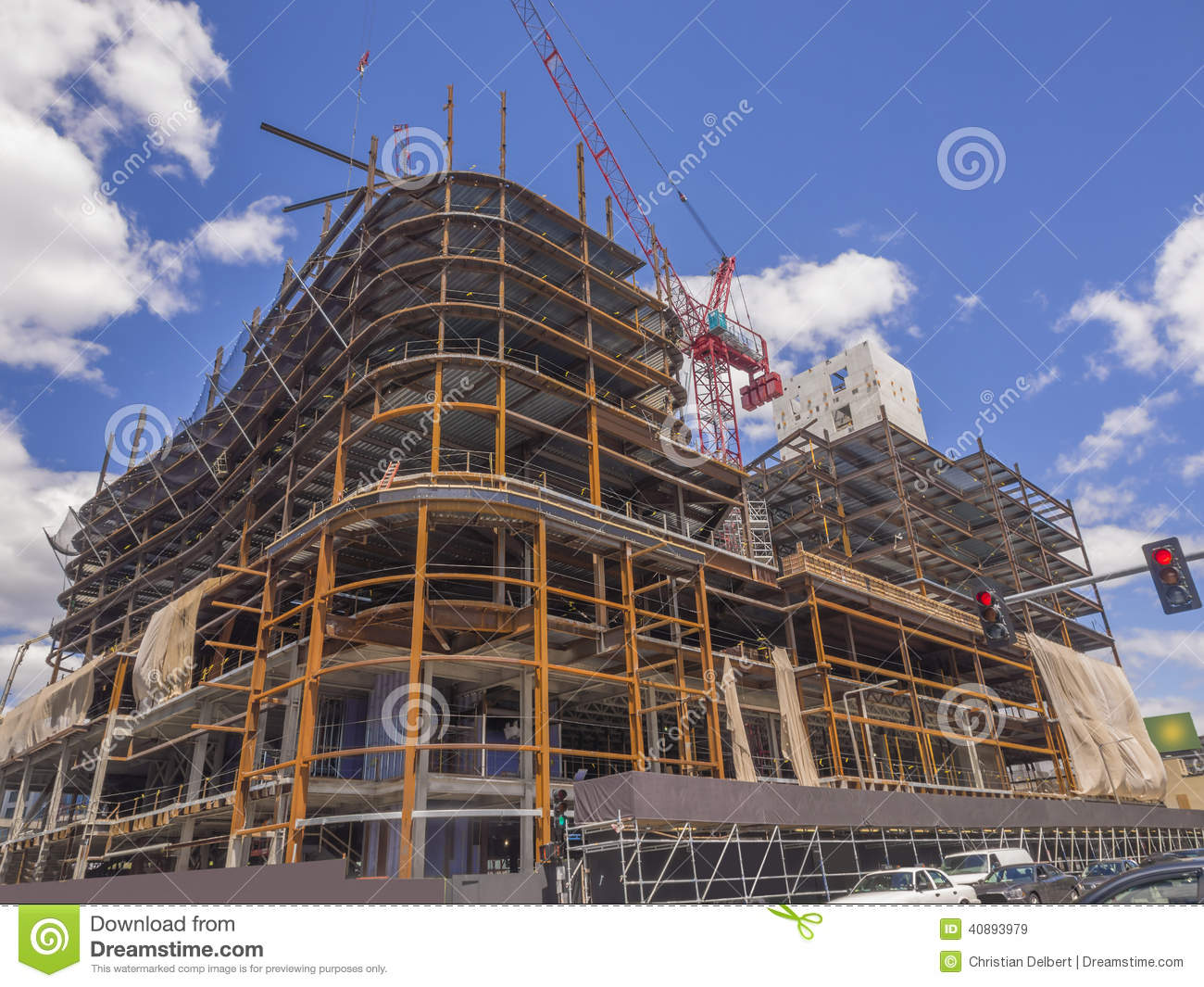 New commercial building going up stock image image 40893979 for Modern building construction