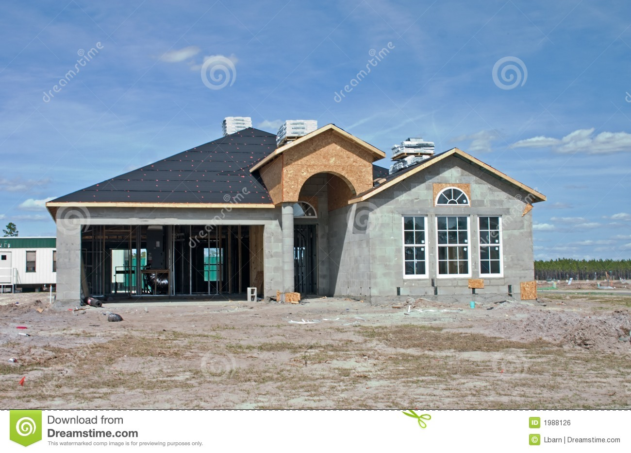 New concrete block home construction stock photo image for Concrete home contractors
