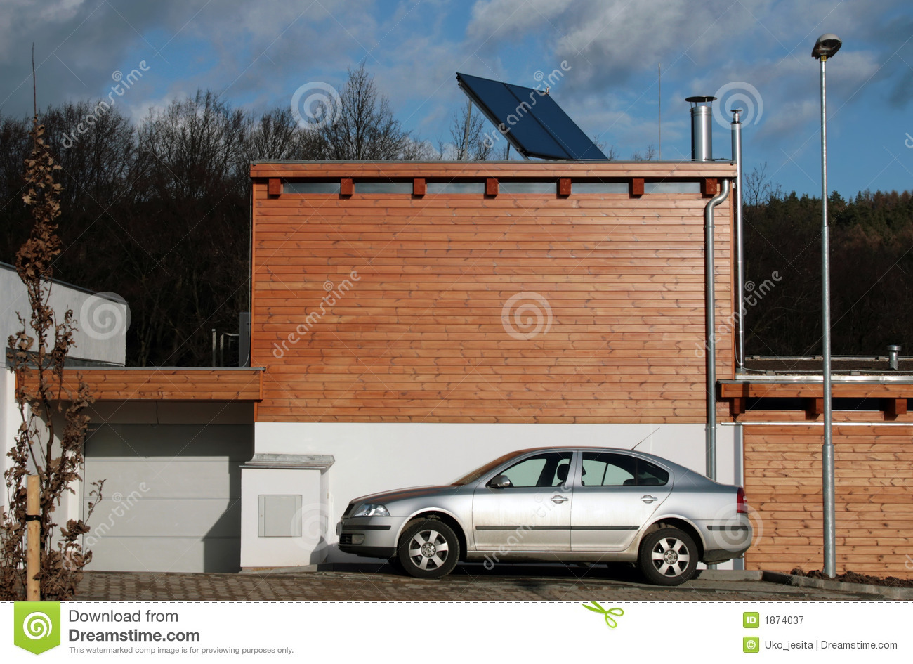 New constructed house with solar panels on the roof for water heating