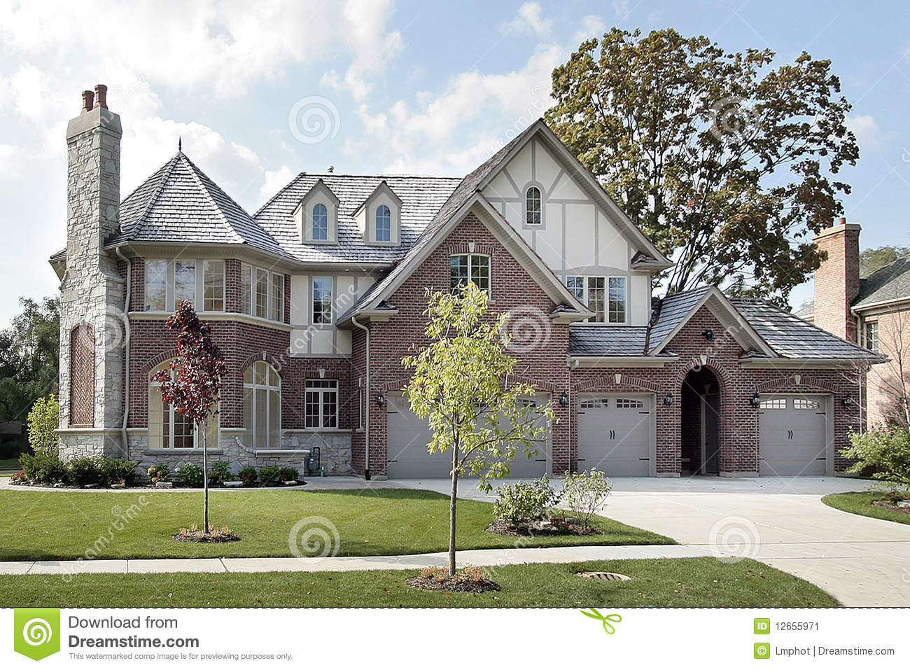 Terrific New Construction Brick And Stone Home Royalty Free Stock Photos Largest Home Design Picture Inspirations Pitcheantrous