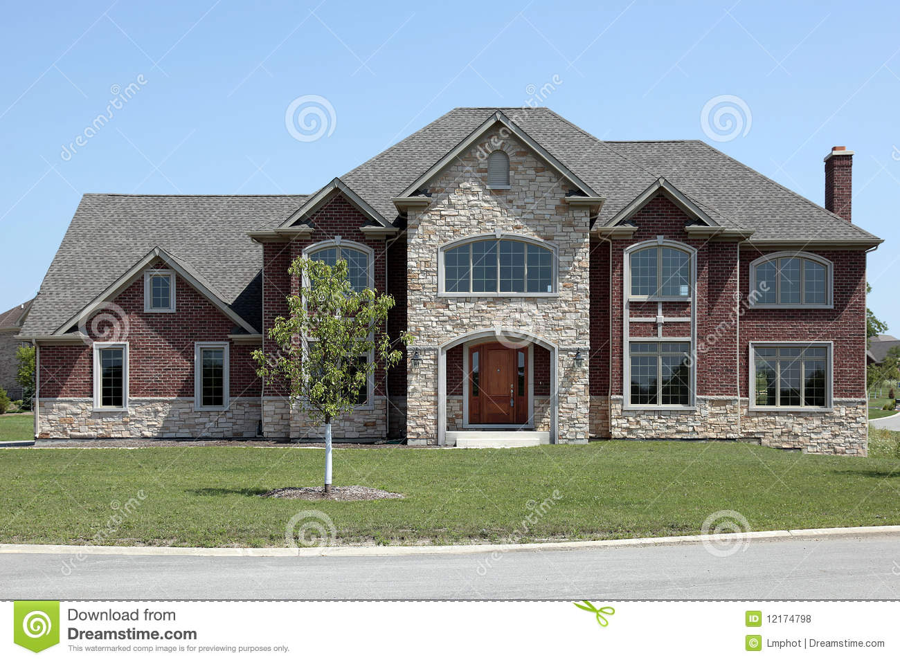 New Construction Brick And Stone Home Royalty Free Stock