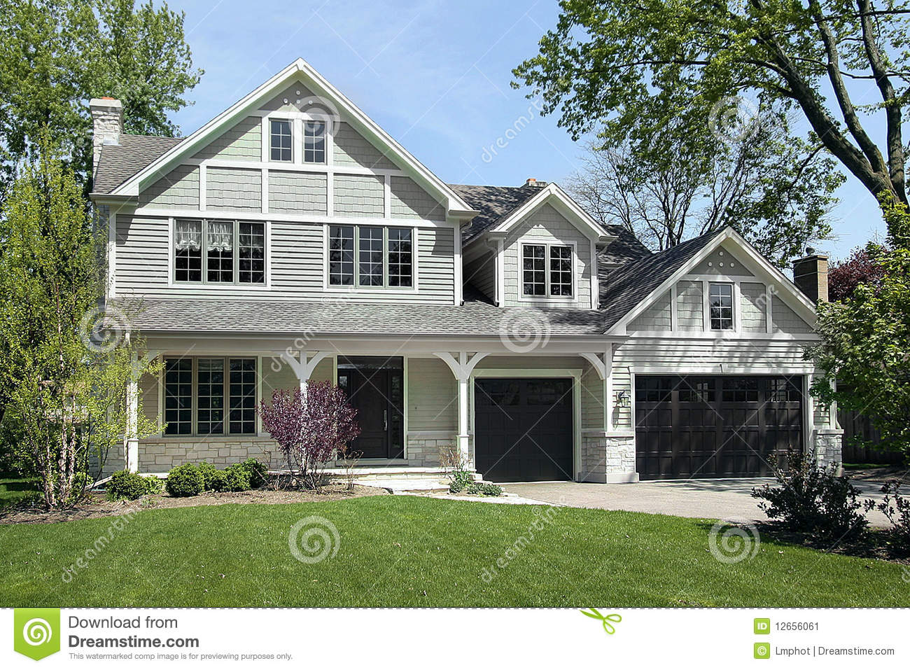 New construction home in spring