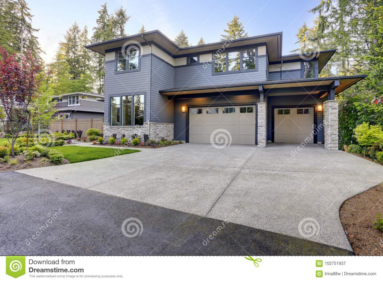 New Construction Home With Wood And Stone Siding Stock Image Image