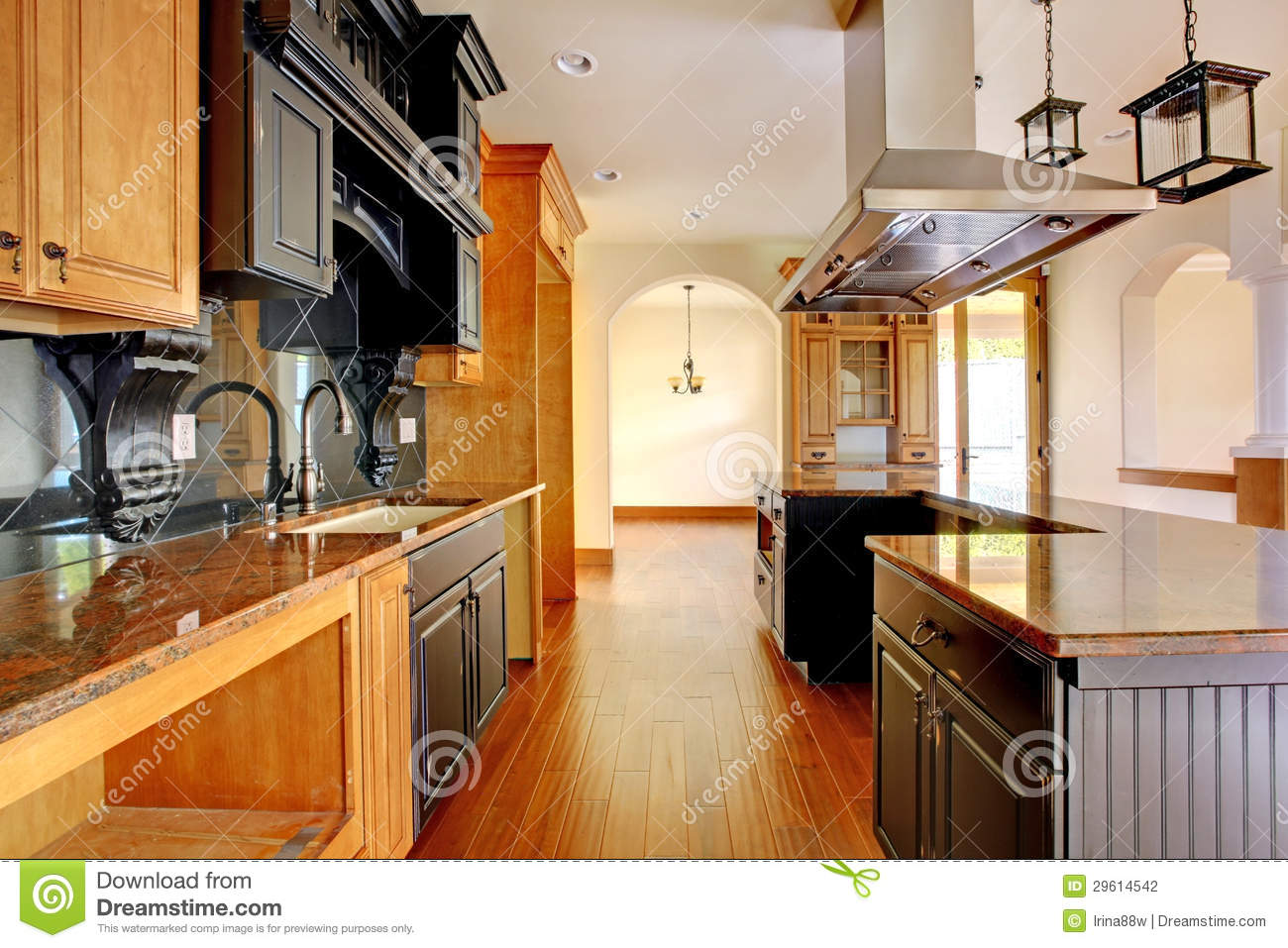 new construction luxury home interior kitchen with beautiful