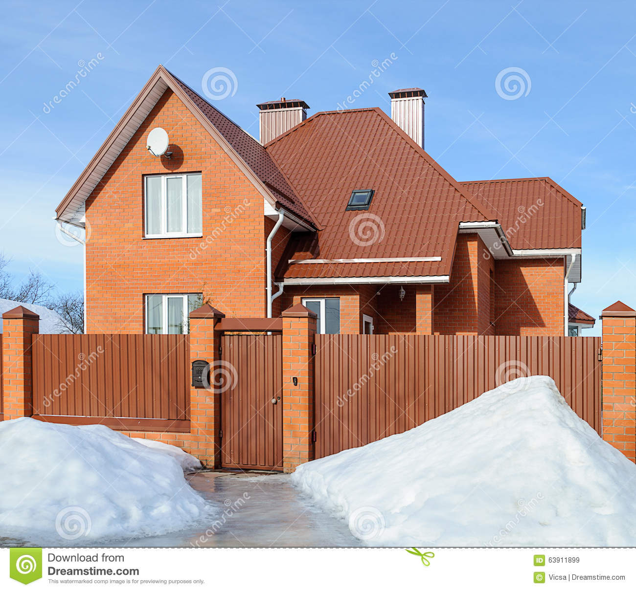 Modern House Red Roof: New Country Brick House In Winter Stock Image