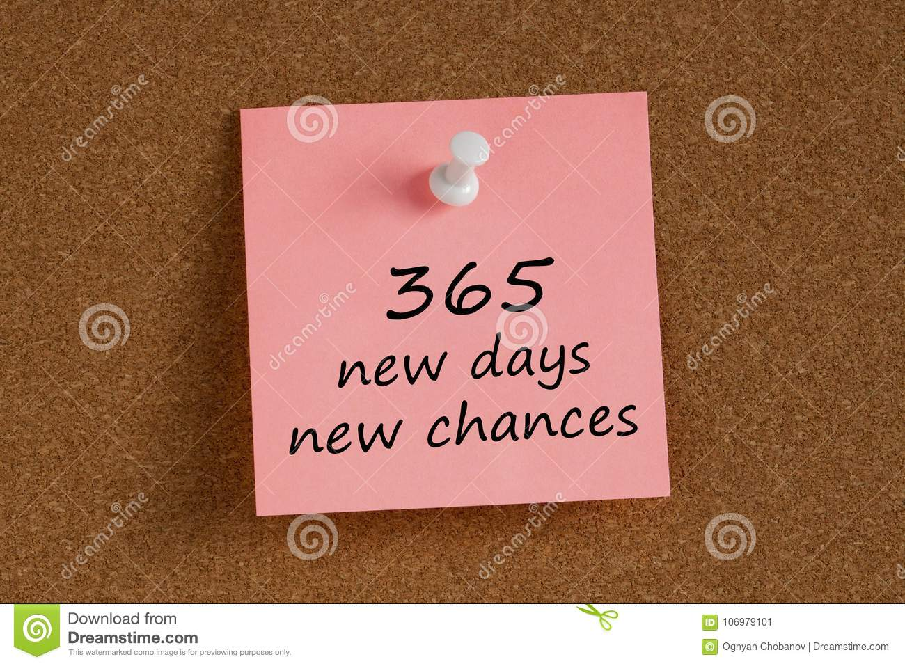 365 new days new chances written on remember note