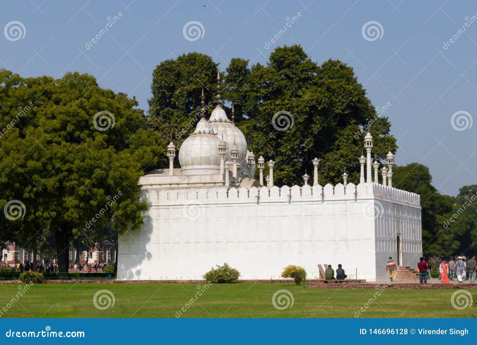 New Delhi, India - Februari 2019 Moti Masjid in Rood Fort, New Delhi, India Ken ook als Parelmoskee, ligt het ten westen van