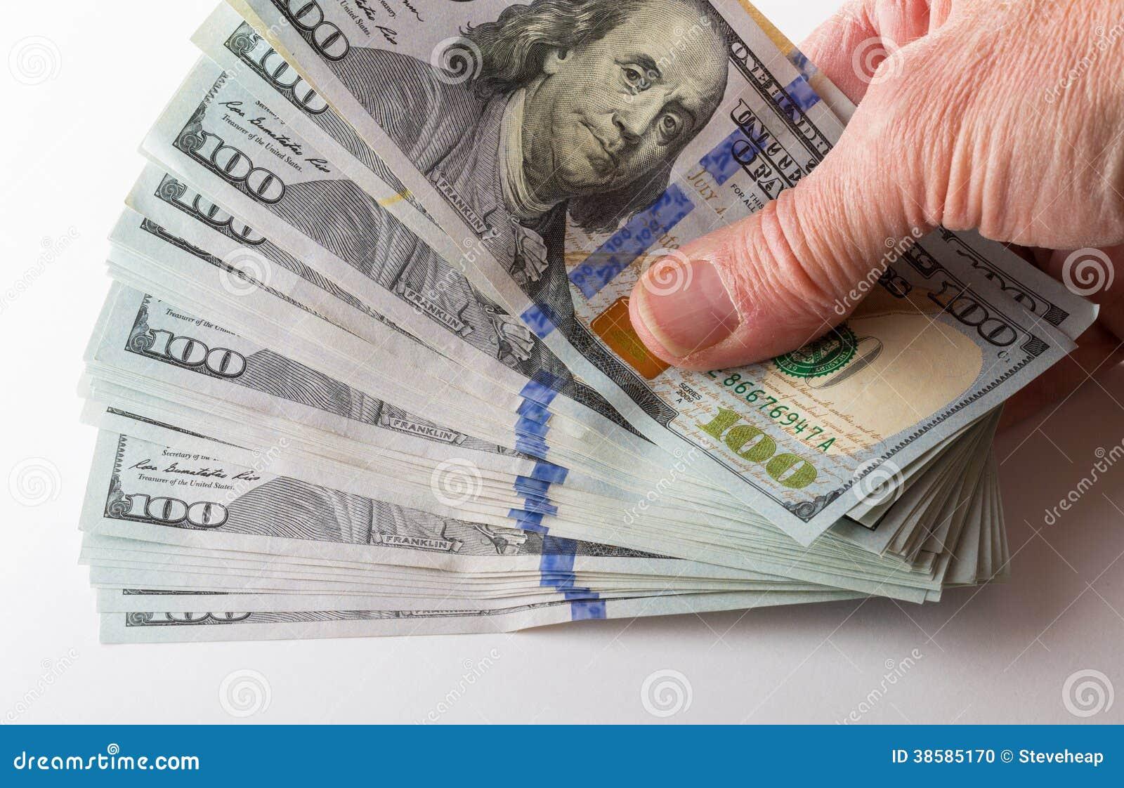 New Design 100 Dollar US Bills Or Notes Stock Photo - Image: 38585170
