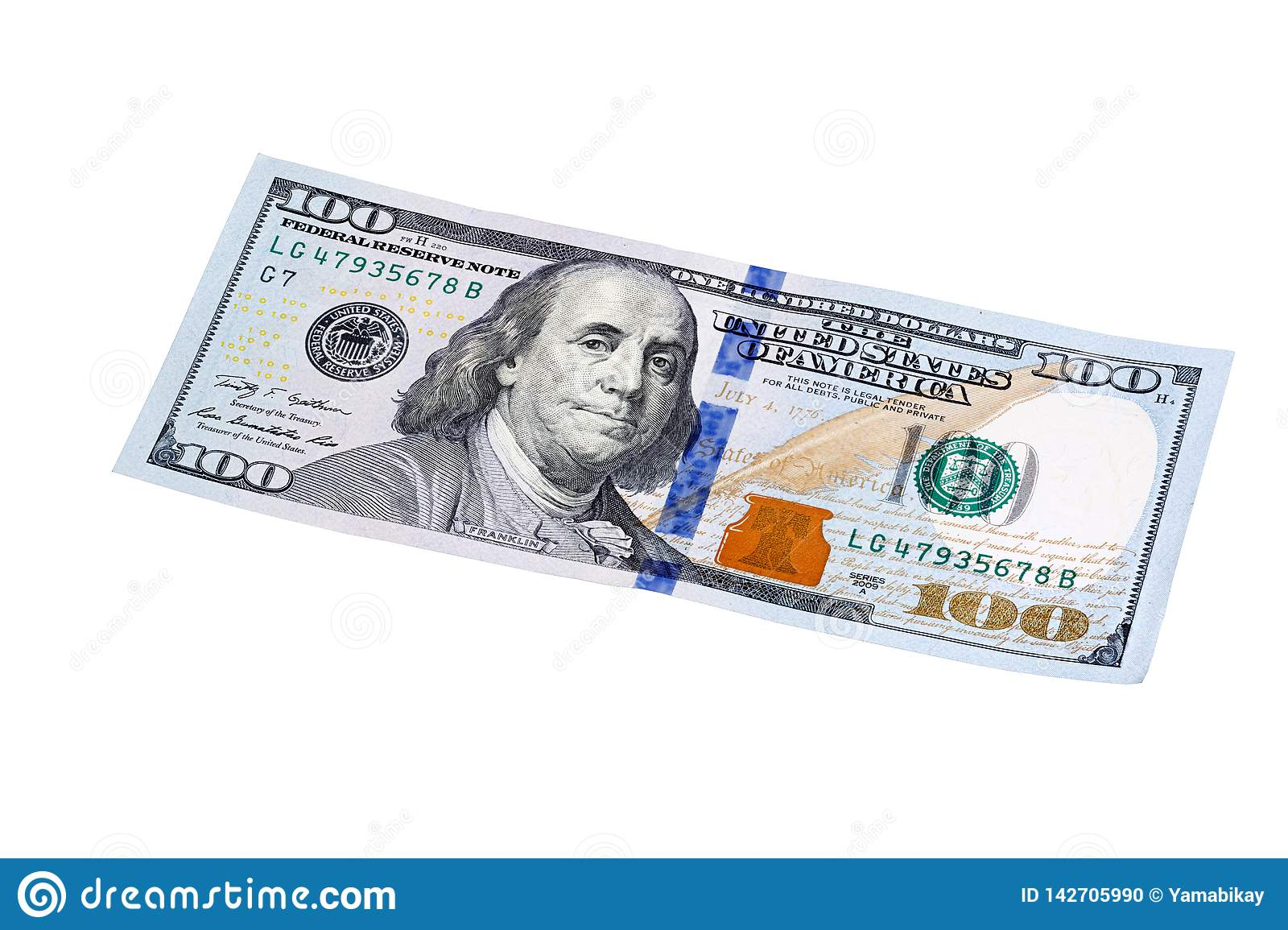 New Design Of US Currency One Hundred Dollar Bills Isolated