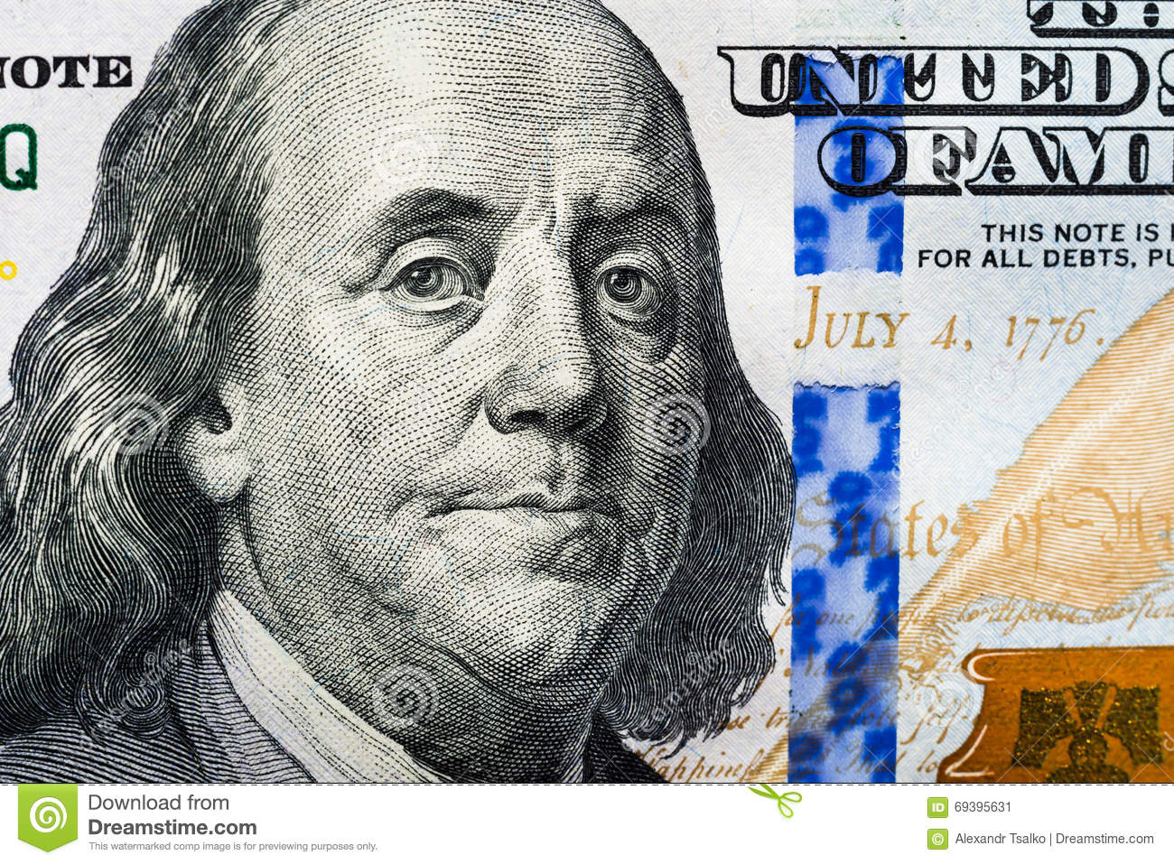 The New 100 Dollar Bill Close Up Franklin S Face