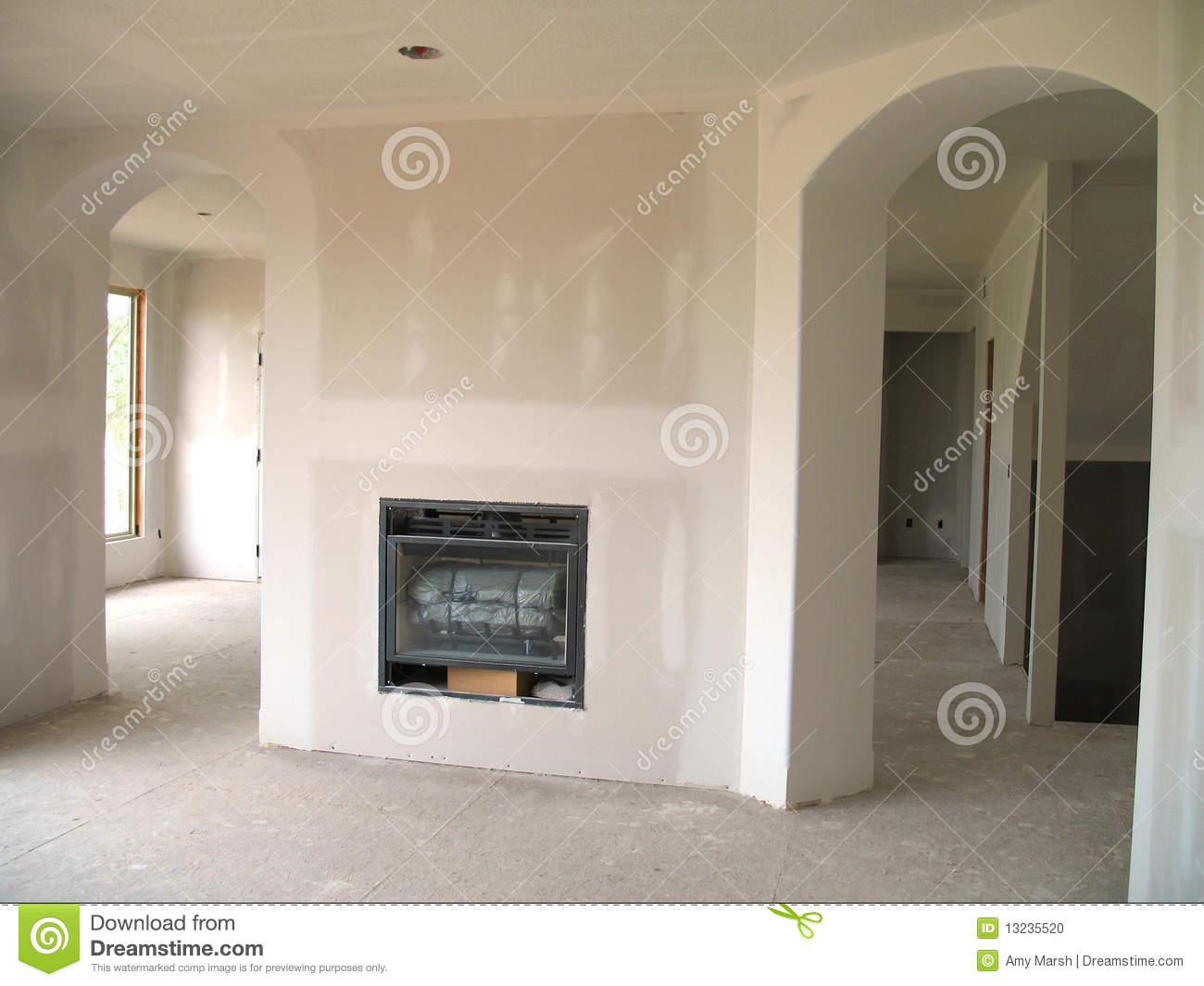 New Drywall With Fireplace Stock Photo - Image: 13235520