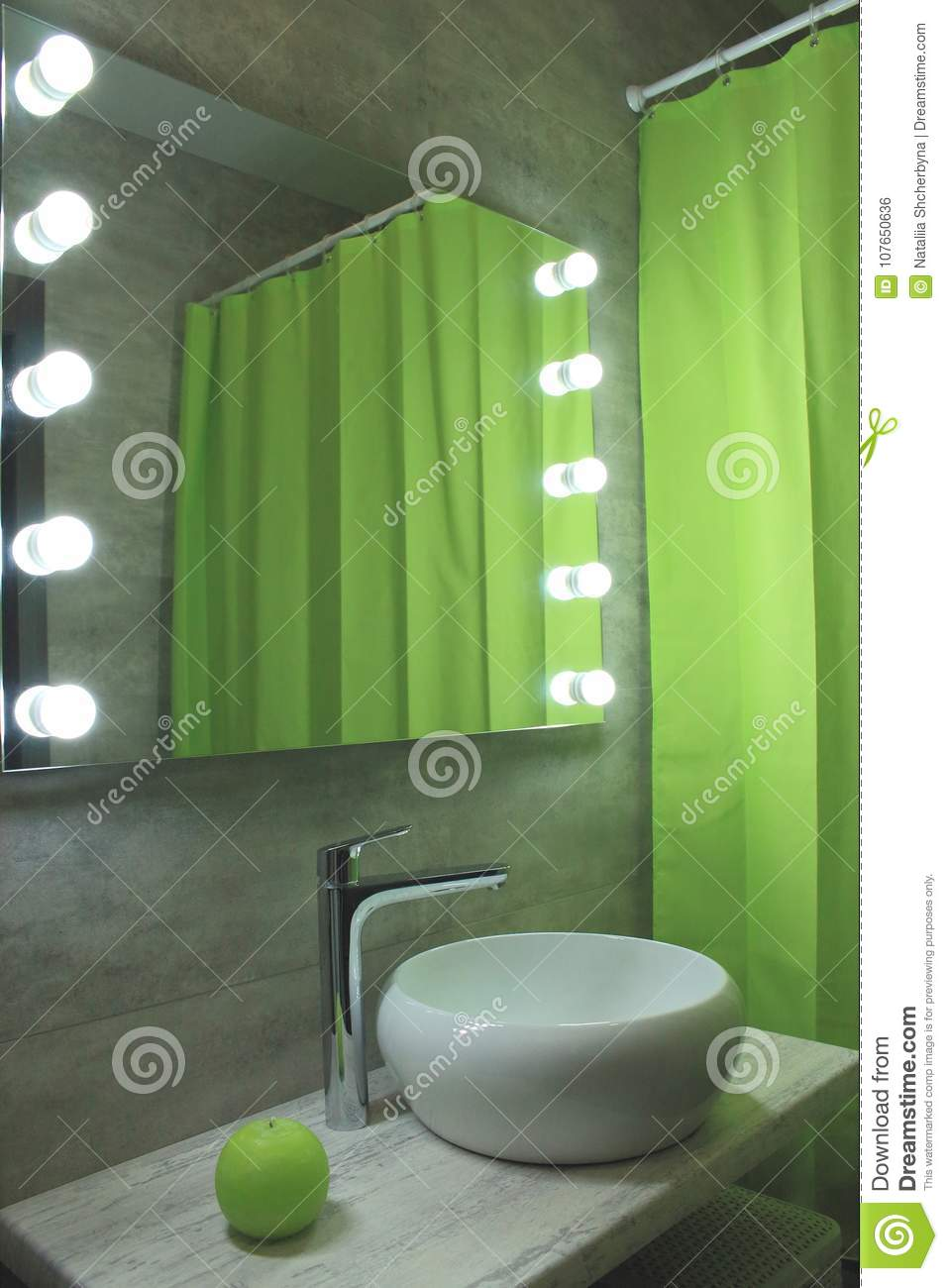 New Ecological Bathroom Design. Light Grey And Green Restroom With ...