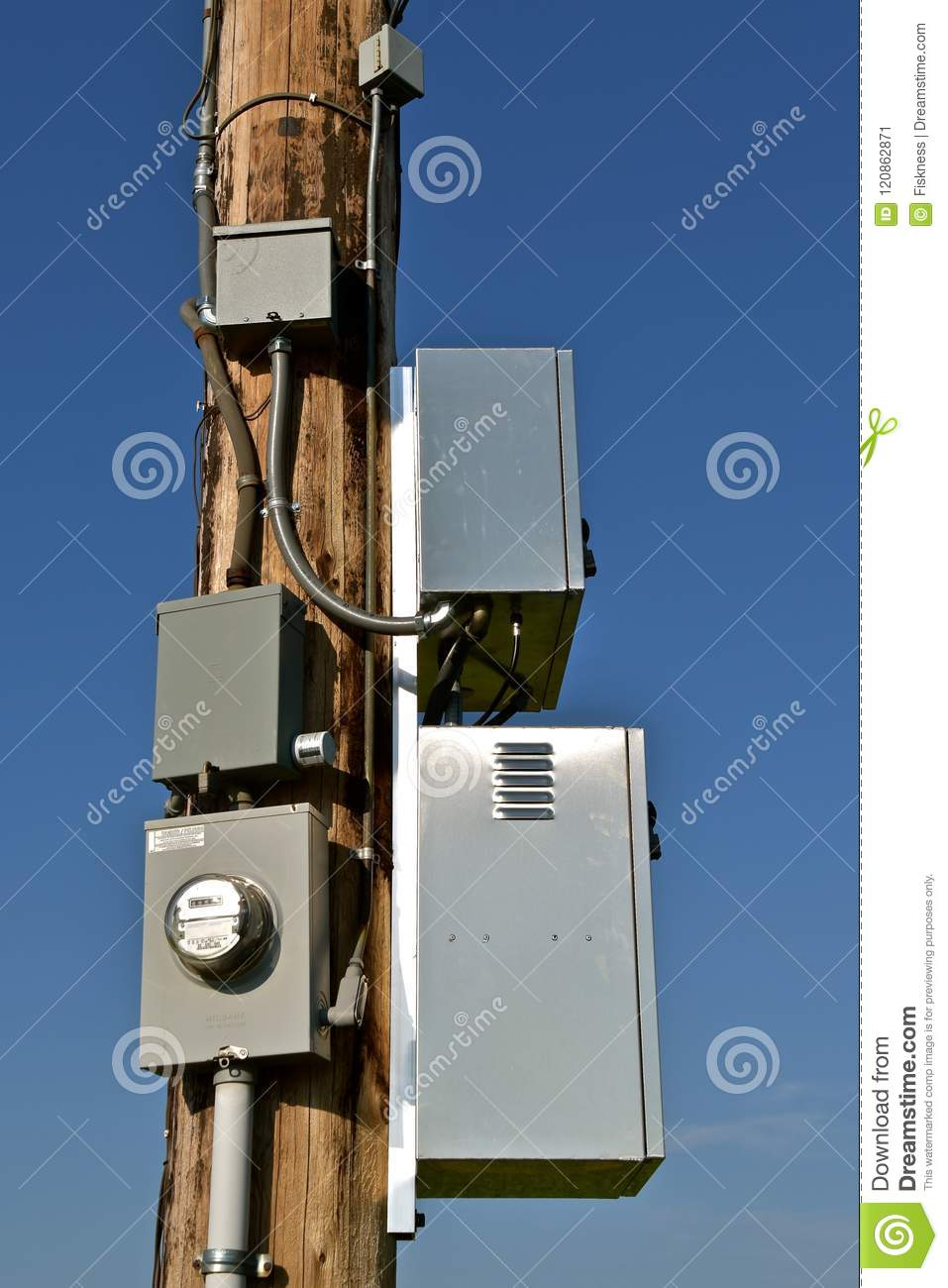 New Electrical Boxes On Wood Utility Pole Stock Image