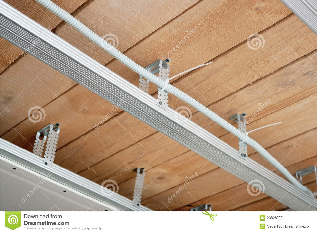 Electrical Wiring In A Suspended Ceiling Stock Image - Image of ...