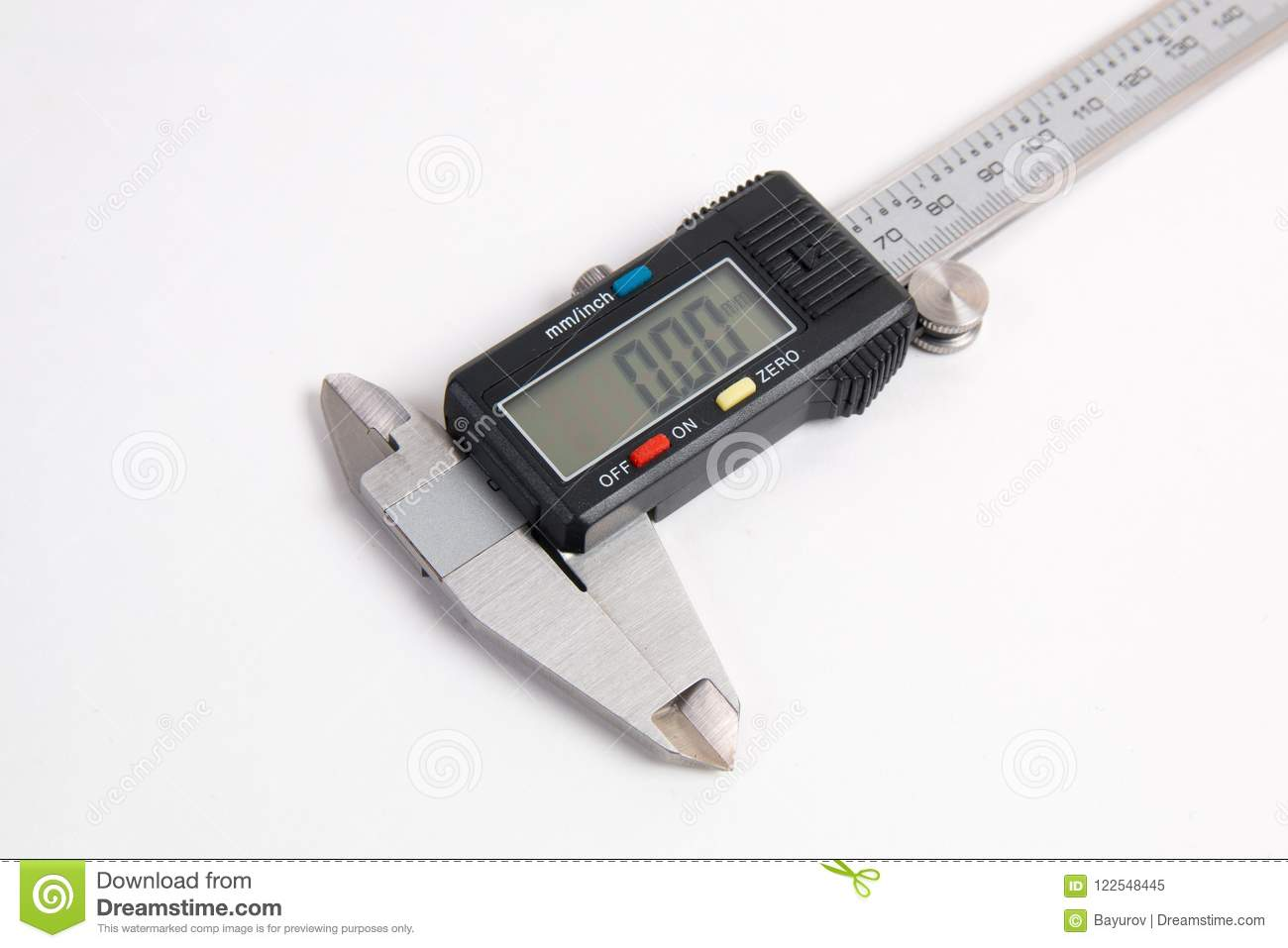 Electronic digital caliper on white background