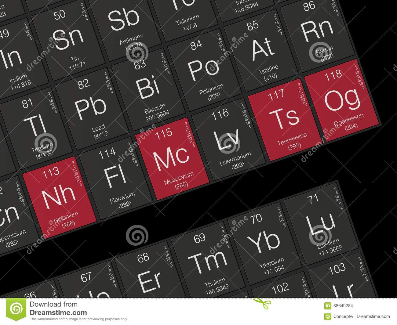 New Elements In The Periodic Table Stock Illustration Illustration