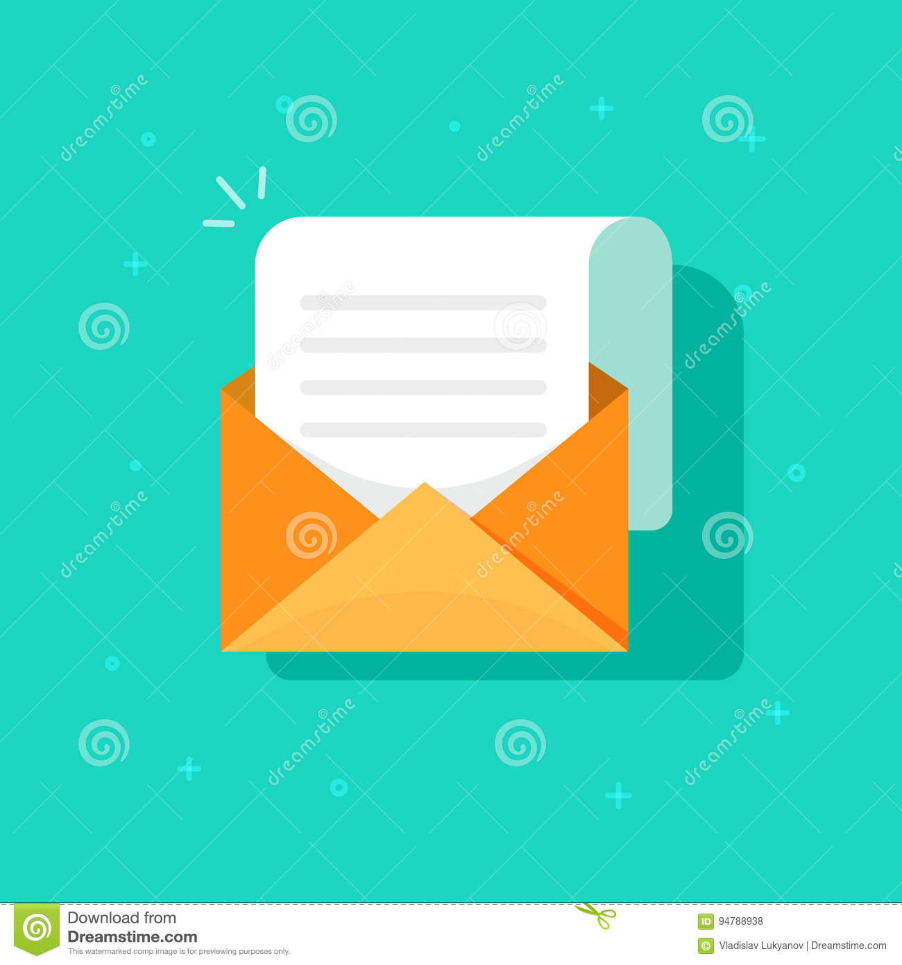 New Email Message Icon Flat Carton Envelope With Open Mail