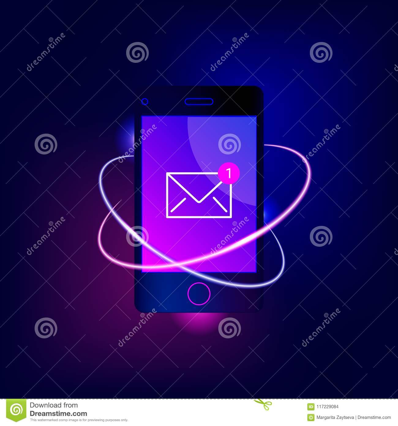 New Email Notification On Mobile Phone  Stock Vector
