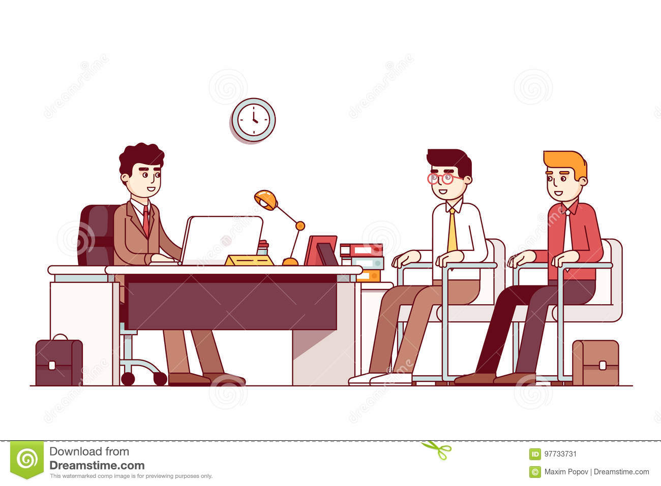 New Employees And Boss Sitting In Office Room Stock Vector Illustration Of Businessman Director 97733731