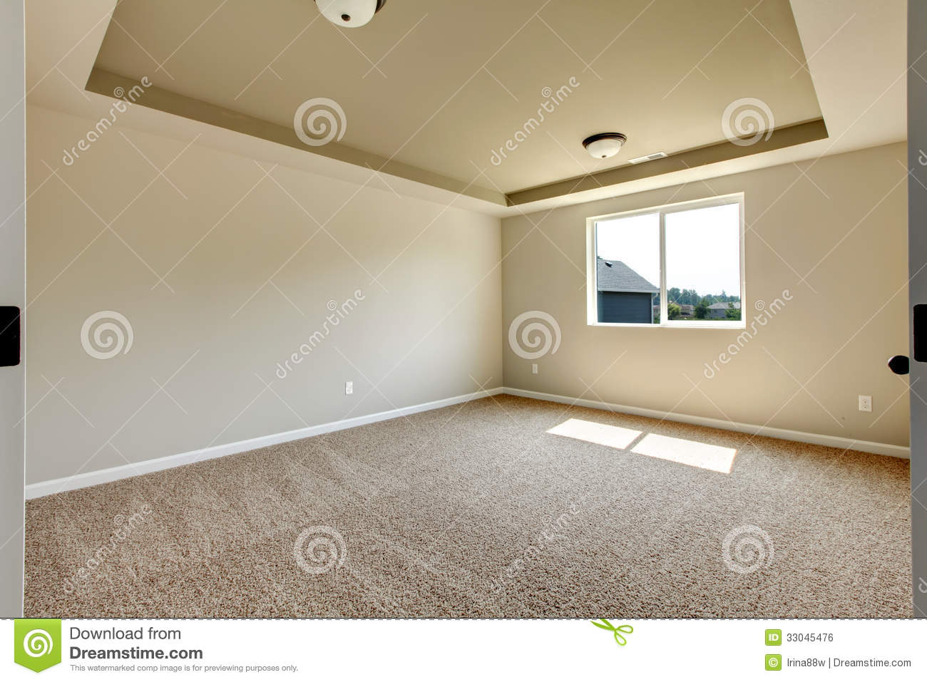New empty room with beige carpet royalty free stock image for How to carpet a room