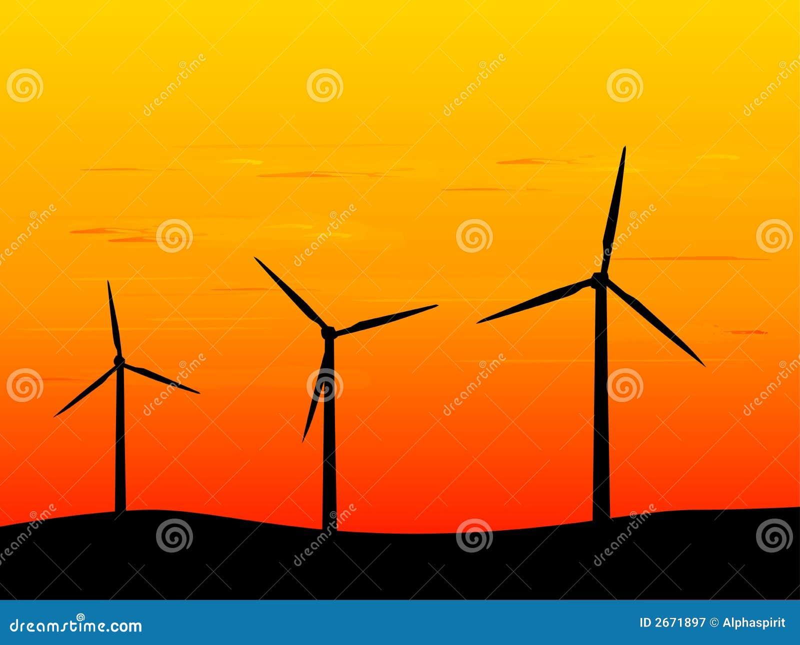 New Energy Wind Turbines Stock Vector Illustration Of Turbines