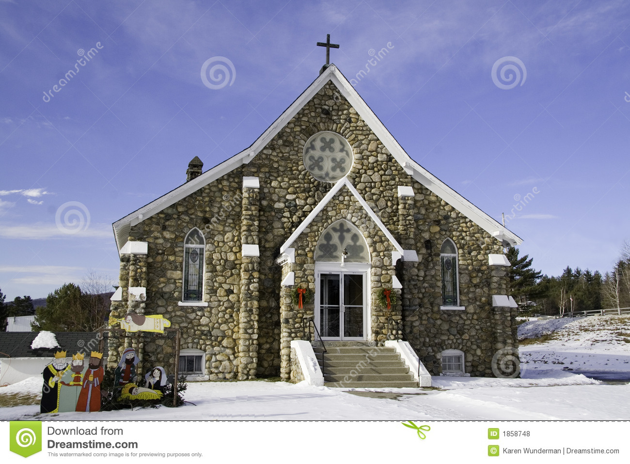 New England Church At Christmas Time Royalty Free Stock