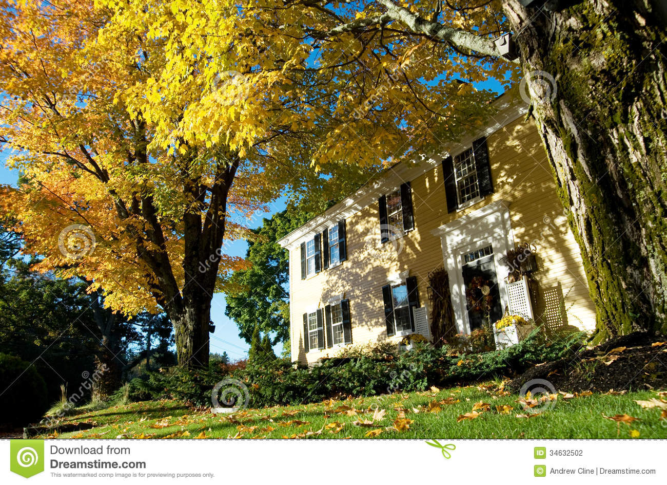 New England Colonial In Autumn With Maples Stock Photo